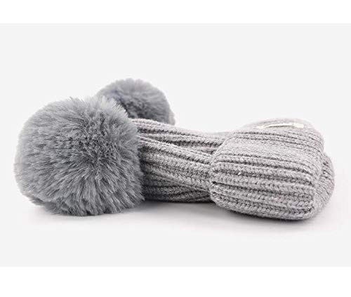 Color : Gray Timeless Glam Children Winter Plush Ball Ears Knit Beanie Embroidery Hat Warm Earflap Cap