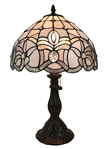 Amora Lighting AM281TL12 Tiffany Style Floral Design Table Lamp, White