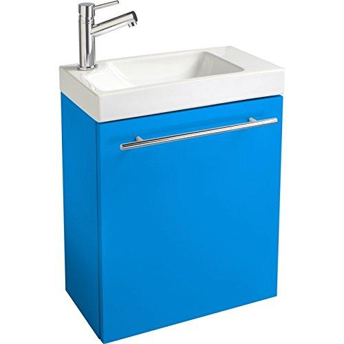 Pack meuble lave main complet pour Wc Bleu électrique laqué
