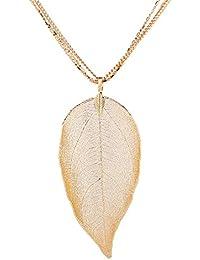 Natural Leaf Pendant Delicate Necklace Filigree Long Bohemian Unique Women Jewelry