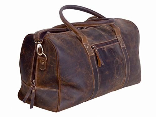 KomalC Genuine Leather Duffel   Travel Overnight Weekend Leather Bag   Sports Gym Duffel For Men by KomalC (Image #1)