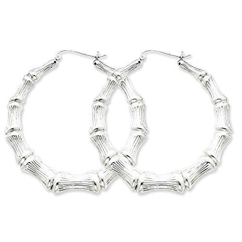 (.925 Sterling Silver 44 MM Bamboo Hoop Earrings)