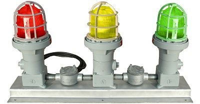 Explosion Proof Traffic Light w/ Signal - Class 1 & Class 2 Signal Stack Light -With Integrated Horn(-24VDC-Strobe) -