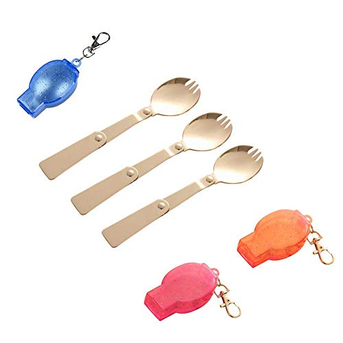 - Chris.W 3Pcs Foldable Camping Sporks, Hiking Cook Picnic Spoon Stainless Steel Fork Traveller Spork - with Plastic Storage Cases(Multi Color)