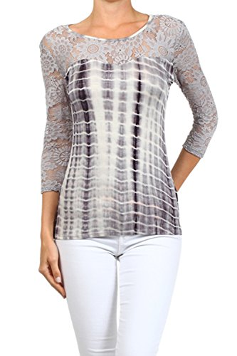 Plus-Size-Grey-Lace-Tie-Dye-Top