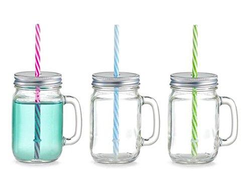 6x Zeller Trinkglas 470 ml Countrystyle mit Deckel, Henkel und Strohhalm, Vintage Glas