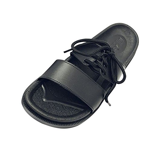BUIMIN Chancletas Zapatillas Para Adulto-Unisex Atractiva de Pareja Correas Antideslizantes Transpirable Para Playa Casual Moda Verano Color Negro/Blanco. (42-43, Negro)