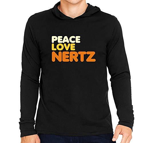 Idakoos Peace Love Nertz Hooded Long Sleeve T-Shirt L -