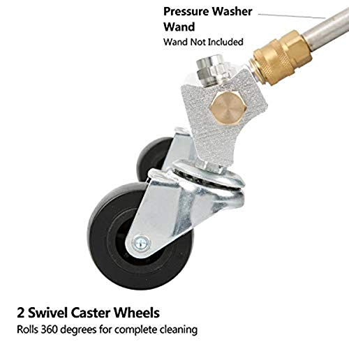 TOOGOO Pressure Washer Chassis Cleaner Car Water Broom 1/4Inch Plug for Quick Disconnect 4000 Psi with 2 15Inch Extension Bars 4 Nozzles with Clean Water Broom 13Inch
