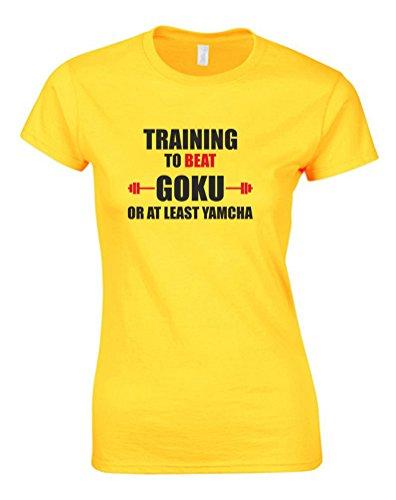 Training To Beat Goku, Ladies Printed T-Shirt - Daisy /Black/Red L = 6-8