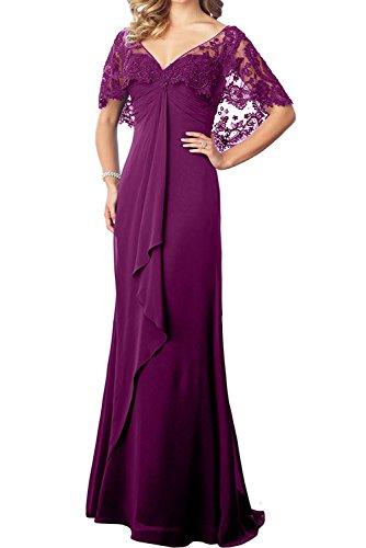 Marie Abschlussballkleider Kleider Damen Braut Lang Fuchsia Spitze La Partykleider Ausschnitt Abendkleider Jugendweihe V AdpgdWH