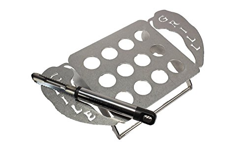 The Original Chile Grill, Chili Grill, Jalapeno Grill Rack, Pepper Grill Rack, Pepper Rack, Jalapeno Poppers, Jalapeno Corer, 12 Jalapenos, Stainless Steel, Dishwasher Safe Stainless Steel 12 Peppers Grilling Rack with Jalapeno Pepper Corer