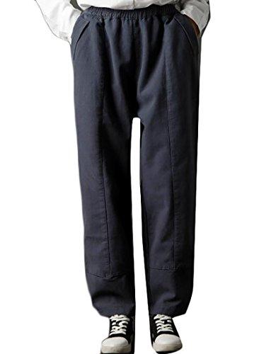 Flannel Wide Leg Trousers (Cruiize Women's Winter Flannel Lined Elastic Waist Wide Leg Harem Pants Gray X-Large)