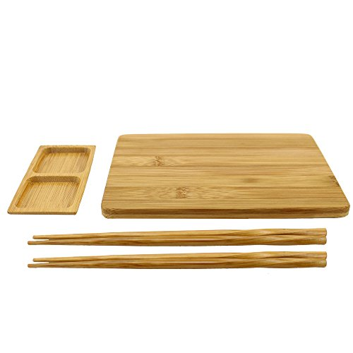 Sushi Serving Board - BambooMN Reusable Bamboo Sushi Serving Board Set - 1 Sushi Board, 2 Sets of Chopsticks, 1 Sushi Dipping Tray