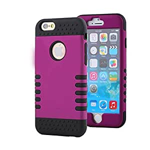 "iPhone 6 Plus Case,iPhone 6 5.5"" Case,KINGCOOL Colorful Robot Series High Impact Soft Rubber Hard Hybrid Case Cover(Purple+Black)"