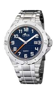 Lotus 15573-3 - Reloj analógico de cuarzo para hombre con correa de acero inoxidable, color plateado
