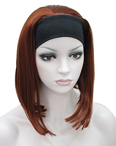 High Heat Resistant Synthetic Black Headband Orange Red Hair Wig (Human Hair Headband Wigs)