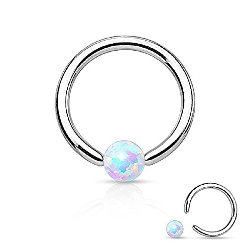 Opal Captive Bead Synthetic Opal Ball 316L Surgical Steel Captive Bead Ring (16g 1/4