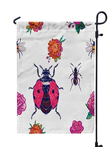 HerysTa Garden Flag Stand, Decorative Yard Farmhouse Holiday Banner 12 x 18 inches Embroidery Marigold Peony Flower Pink Rose Twigs Ant Flying Ladybug Funny Bee Double-Sided Seasonal Garden Flags]()