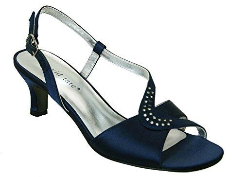 David Tate Womens Crescent Sandal, Navy Satin-8.5 by David Tate