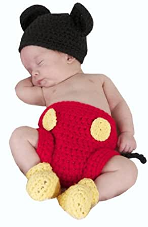 Jastore® Photography Prop Baby Costume Cute Crochet Knitted Hat Cap Girl Boy Diaper Shoes Mouse