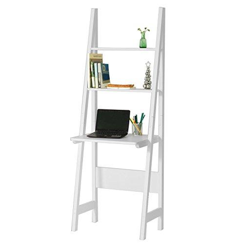SoBuy® Mesa de ordenador con estante integrado, Estanterias librerias,Estanterias de diseno,blanco,FRG60-W,ES