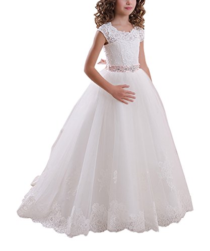 Abaowedding Ball Gown Lace Up First Flower Communion Girl Dresses US 8 White