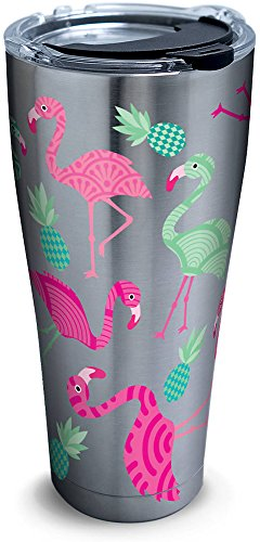 (Tervis 1261330 Flamingo Pattern Stainless Steel Tumbler with Clear and Black Hammer Lid 30oz, Silver)
