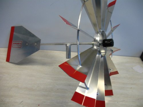 8 Ft Premium Aluminum Decorative Garden Windmill- Red Trim