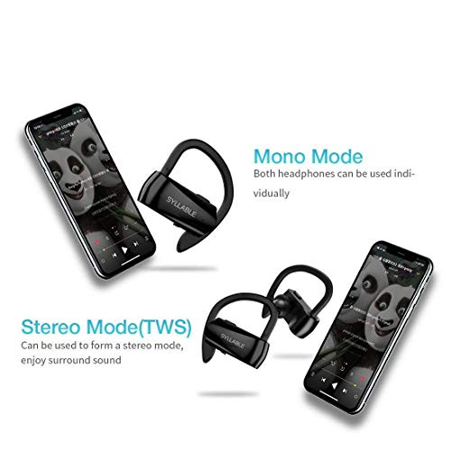 Running Headphones,Syllable Wireless Bluetooth Earbuds with Mic V 5.0 Hi-Fi Stereo Richer Heavy Bass Noise Cancelling Headsets Sweatproof Secure Fit in Ear 6 Hours Battery by Syllable (Image #1)