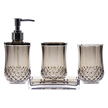 JustNile Acrylic 4-Piece Bathroom Accessory Set - Translucent Grey