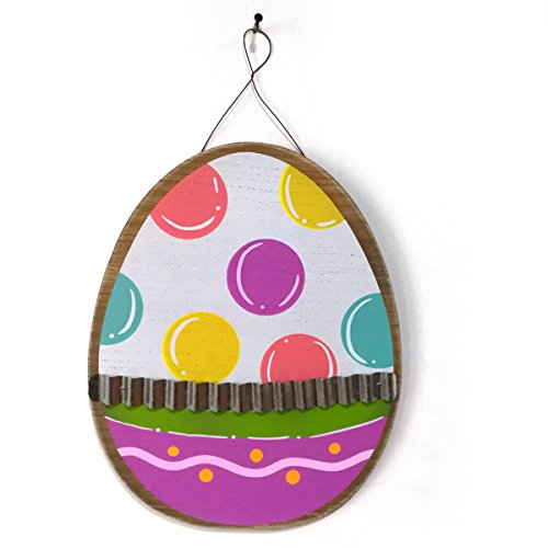 OULII Wooden Easter Egg Hang Tags Festival Hanging Pendant Wall Door Sign Board for Home and Shop Decoraction Easter Party Favors (Easter Hang Tags)