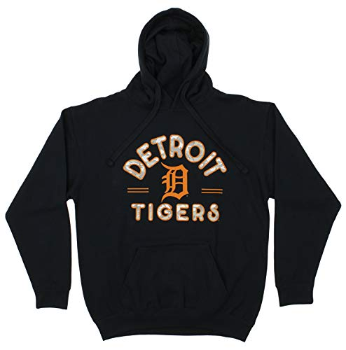 Zubaz MLB Men's Arched Logo Fleece Pullover Hoodie, Detroit Tigers, Medium