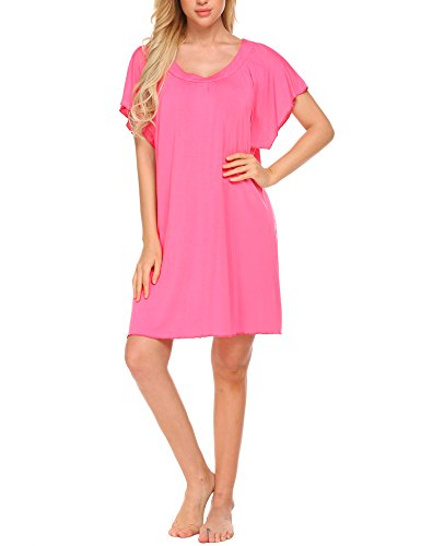 - luxilooks Casual Nighty Dress Women's Soft Short Sleeve Nightgown Chemise with Ruffle (Peach,XL)