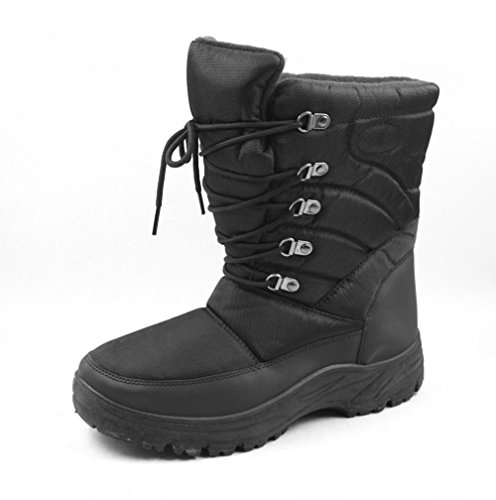 7702 Mens Snow Up Boots Black Lace pTpqwOR