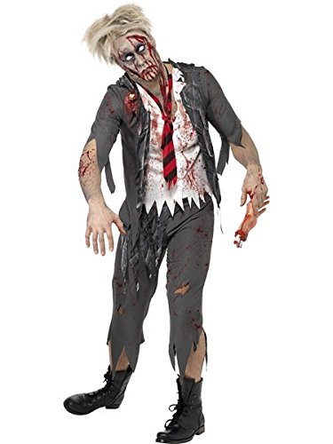 Halloween Costumes School Girl Zombie (Smiffy's Men's High School Horror Zombie Schoolboy Costume, Jacket, Attached Shirt, Tie and pants, High School Horror, Halloween, Size L, 32928)