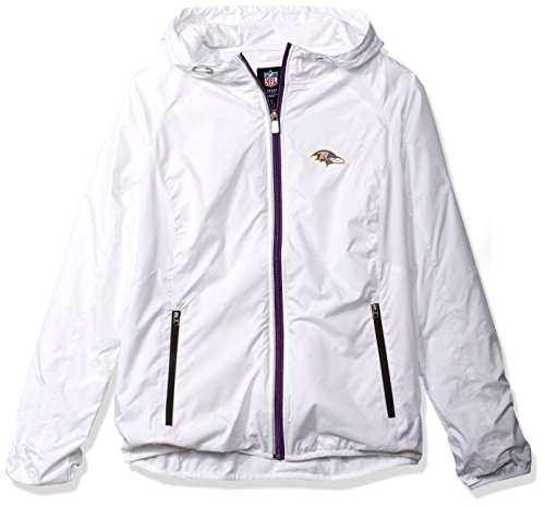 NFL Baltimore Ravens Women's Spring Training Light Weight Full Zip Jacket, Large, White