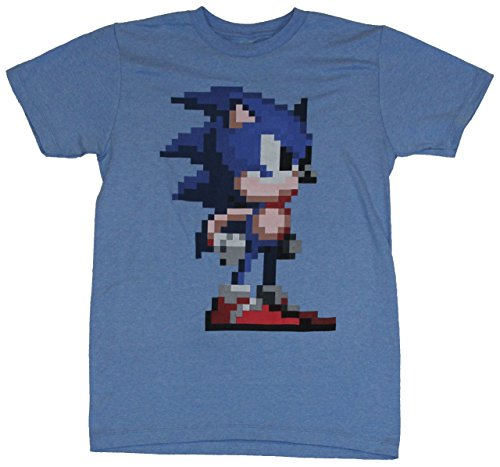 Sonic the Hedgehog Mens T-Shirt - Giant Pixelated Sonic Image (Extra Large) Heather Blue (Adult Hedgehog)