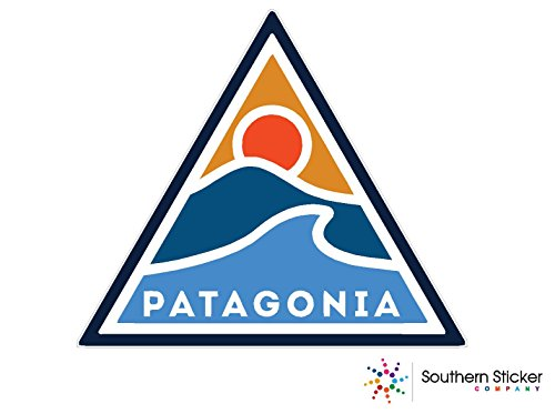 Patagonia triangle sun wave 4x4 inches size - funny stickers for construction hard hat pro union working men lunch box tool box symbol window motorcycle biker car - Made and shipped in USA