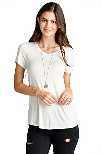Emmalise Women's Comfy Soft Flowy Tee Shirt Short Sleeves VNeck Tee Top - Off White, S (Tee Womens White)