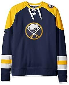 VF LSG NHL Buffalo Sabres Men's Centre Long Sleeve Crew Neck Pullover Sweatshirt, Small, Navy/Yellow Gold/White