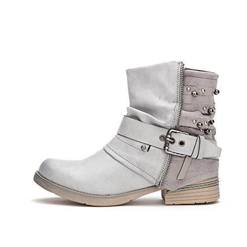 Women Motorcycle Boots Combat Ankle Combat Boots with Studded Low Block Heels Biker Shoes Black/Gray/ Brown
