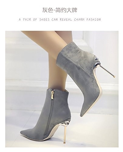 Autumn and winter new pointed high heels 10 centimeters of metal thin and short boots 43 grey ME6G1Pe