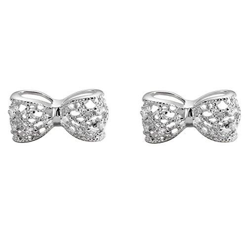 Crystal Studded Heart Earrings - Carleen 925 Sterling Silver Cubic Zirconia Bow Tie Stud Earrings for Women Girls