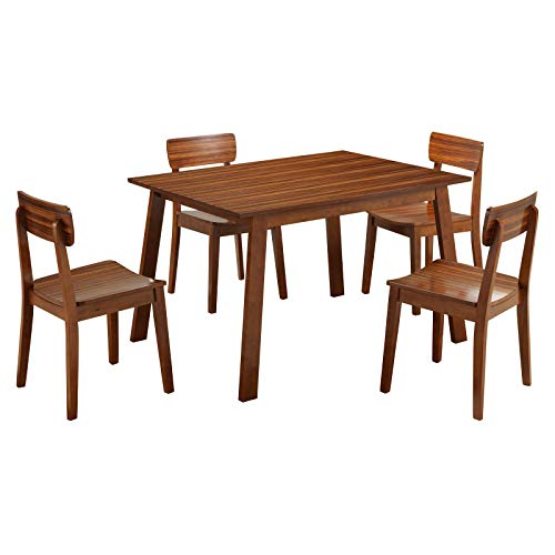5-Piece Dining Set, 1 Table, 4 Chairs, Rich Walnut Finish, Contemporary Style and Modern Design, Chic and Elegant, Exotic Zebrano Wood and Veneer, Solid Rubberwood, Sturdy and Durable + Expert -