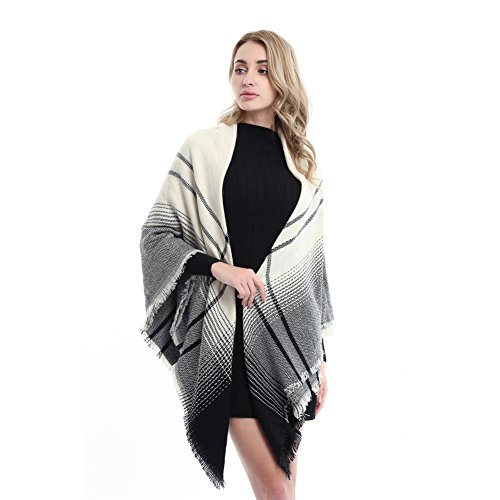 Women's Fashion Soft Plaid Blanket Scarf Winter Warm Large Elegant Wrap Shawl (beige black)