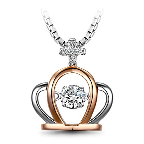 T400 925 Sterling Silver Dancing Stone Love You Forever Heart Pendant Necklace Cubic Zirconia from Swarovski Birthday Gift for Women Girls