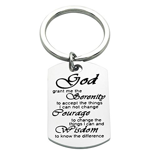 Serenity Prayer Keychain Recovery Bible Verse Keyring Gift (God keyring) - Bible Verses Gods Word