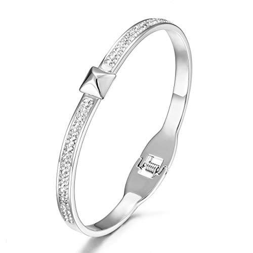 CIUNOFOR CZ Bracelet for Women Girls Cross Line Parallel CZ Circle Bracelet Italian Style Buckle Cuff Bangle Silver Gold Rose Gold Plated Stainless Steel Bracelet (White 1)