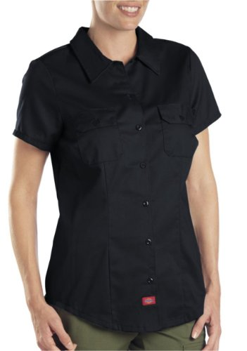 (Dickies Women's Plus Size Short-Sleeve Work Shirt, Black)
